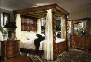 "AICO by Michael Amini English Truffle ""Brittney"" 4PC king size bedroom set"