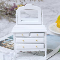 1:12 Dollhouse Miniature White Wooden Makeup Dressing Table Bedroom Furniture YK