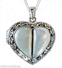 Sterling Silver White Pearl and Marcasite Heart Shape Locket Necklace