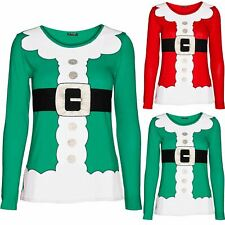 Womens Xmas Santa Claus Costume Father Suit Ladies Christmas Long Sleeve T Shirt