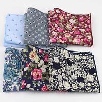 Hankies Mens Pocket Square Rose Flower Paisley Design Handkerchief Cotton Scarf