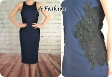 NEW NEXT LADIES UK 18 BLUE LACE PANEL DRESS 897
