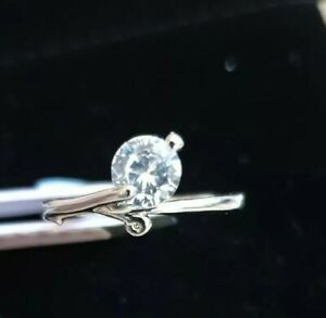 Size O White Gold Finish 0.8ct Diamond Solitaire Silver Engagement Ring BNWT UK