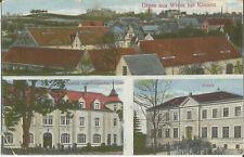 Wiesa bei Kamenz, Gasthof zum Deutschen Kaiser, Schule, alte Ak von 1917
