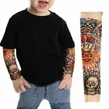 EZI 2 Pcs Fake Nylon Kid Temporary Fake Tattoo Sleeves Arm Stockings Goth Punk C
