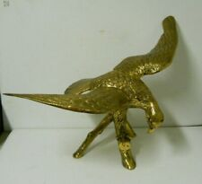 """Large Brass Eagle Statue Sculpture Spread Wing on Perch Metalware Decor 26"""""""