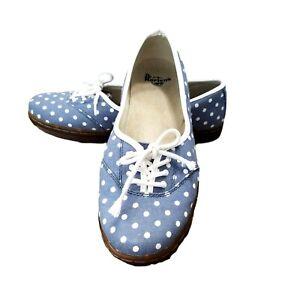 DR DOC MARTENS Sz 41 9.5 10 AirWair Portobello Blue Polka Dot Lace Up Flats Shoe