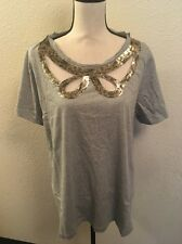66a45006a Lane Bryant Grey Cutout Bow Sequin Tee Shirt Women's Sz 18/20! NWT!