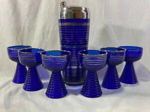 Vtg Art Deco Cobalt Blue Glass Cocktail Shaker & 6 Glasses W Silver Overlay