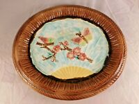 ANTIQUE MAJOLICA OVAL TRAY BUTTERFLIES / FLOWERS