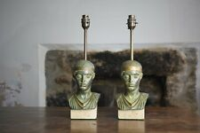 Maison Le Dauphin France, Vintage Pair Charioteer of Delphi Table Lamps