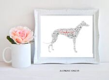 PERSONALISED GREYHOUND WORD ART GIFT SHOW DOG RACE PET KEEPSAKE A4 KENNEL DOG