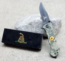 "8"" Army Camo Dont Tread On Me Spring Assisted Tactical Rescue Pocket Knife Blade"
