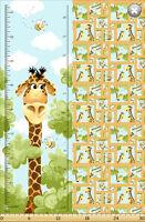 Susybee's Zoe Giraffe Growth Chart  100% cotton fabric by the panel
