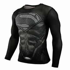 Superman 3D Print Compression Quick Dry Long Sleeve Black Workout Tee Adult XXL