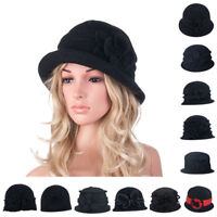 Womens GATSBY Style 1920s Winter Beret Beanie Flower Wool Cap Cloche Bucket Hat