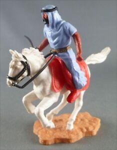 Timpo - Arabes - Cavalier bleu couteau pantalon rouge ceinture doré cheval galop