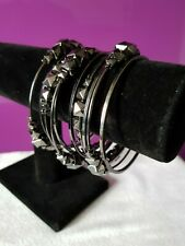 Modern Metal 10 Bangle Stack by FREEDOM Polished Gunmetal, Faceted Cube Detail
