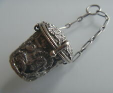 More details for lovely antique 1892 silver thimble holder for chatelaine hallmarked chester
