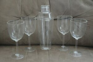 Acrylic Plastic Cocktail Shaker & Set of 4 Stem Glasses ~ Kitchen  Collection