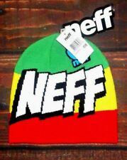 MENS NEFF BIG LOGO RASTA BEANIE HAT ONE SIZE