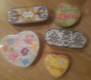 LOT OF 5 BRIGHTON FLORAL METAL TIN BOX 2 SUNGLASSES EYEGLASSES  3 HEARTS CASES