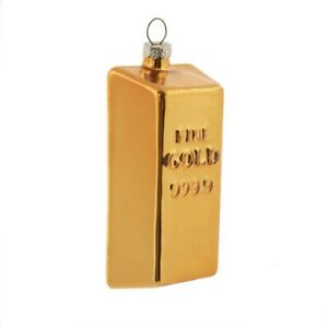 Gold Bar Glass Ornament Rich Luxury Bling Banking Bank Investing Money Jewelry