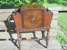 Antique Copper Lined Smoke Stand/Humidor-Walnut Wood