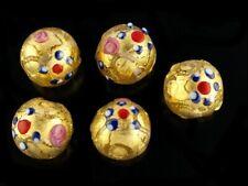 Perla in vetro di Murano Tonda 12mm con foglia in oro 24kt decorate a mano