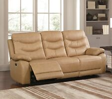 Beige Genuine Leather 3 Seater Electric Reclining Recliner Sofa Suite FUSION