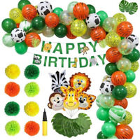 Jungle Party Balloons Decoration Kit(75X Balloons+Leaves+Paper Poms+Banner+Pump)
