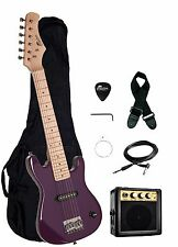 "Raptor 30"" Kids 1/2 Size PURPLE Electric Guitar Package + Amp, Gig Bag, Strap"