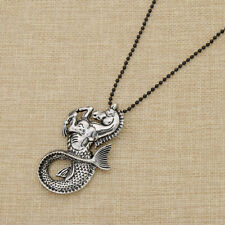 Mermaid Fishtail Sweater Chain Necklace Hippocampus Pattern Vintage Jewellery