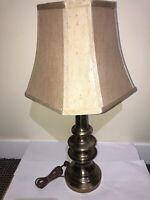 Vintage Stiffel Solid Brass Table Lamp w/ Original Pleated Shades