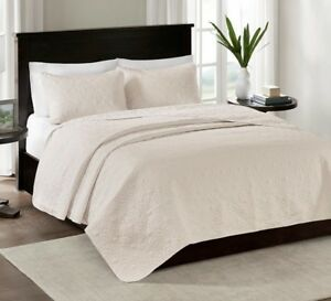 IVORY MATELASSE 3pc Full Queen QUILT SET : CREAM QUEBEC COTTON FILL COVERLET