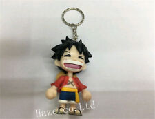 Anime One Piece Luffy Cartoon PVC Keyring Keychain Figure Pendant Gift For Kids