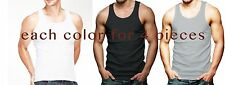 Lot Of 12 Mens Tank Top 100% Cotton A-Shirt Lot Wife Beater Ribbed Undershirt M