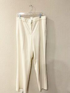 NWT Ann Taylor Kate Fit Trouser Leg White Ivory Pants Size 12 Woen's
