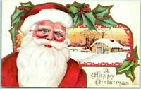 ~Full Face SANTA CLAUS & SNOWY SCENE~Antique Christmas Postcard-m9