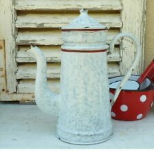 Classic Vintage French Enameled Coffee Pot Biggin ~ White with Blue Veins