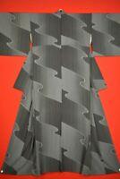 Vintage Japanese Silk Antique BORO KIMONO Kusakizome Dyde Textile/YH63/1000