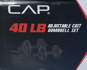 CAP 40 Lb Total Adjustable Cast Dumbbell Weight Set 40 Pounds Ships Fast 🚚💨