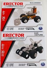 New Meccano Erector 2 Different Engineering Models Car & Bulldozer Kits