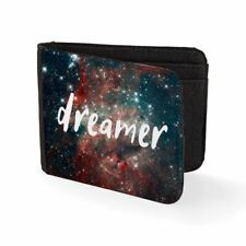 Printed Mens Wallet Card Holder Dreamer Space Galaxy Slogan Mens Travel Wallets