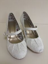 MONSOON White Ivory Satin Vintage Overlay Flower Court Shoes UK 6