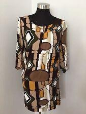 BCBG MAXAZRIA Dress M Drop Waist Multicolor Retro Geometric 3/4 Sleeve Jersey