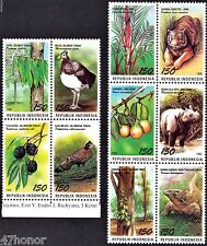 Indonesia 1995, Birds, Fauna, Tiger, Rhino , Stamps stripe MNH