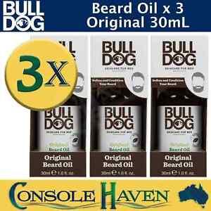Bulldog Beard Oil: Original 30mL x 3 Bull Dog Skincare Soften Condition Natural