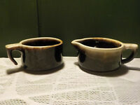Vintage Pfaltzgraff USA Brown Drip glaze  Stoneware Creamer  and Sugar Bowl