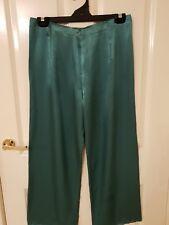Ladies size 12 Green Silky Feel Zip Up P.J. Pyjama Pants